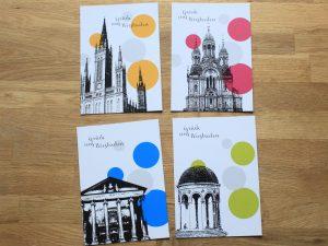 Grüße aus Wiesbaden Postkarten Stadtstück mit bunten Punkten